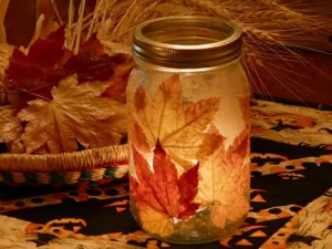 leaf canning jar lantern fall crafts ideas