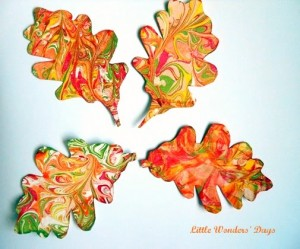 marbled leaves fall craft ideas
