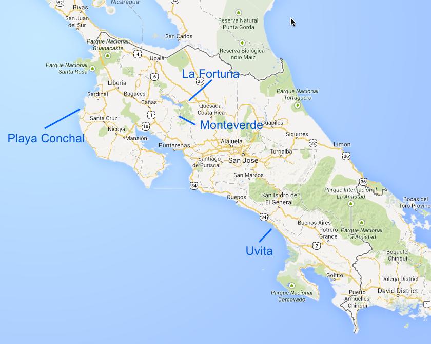 costa rica trip map