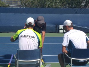 The Bryan Brothers, the most successful doubles team in history, taking a break from practice.