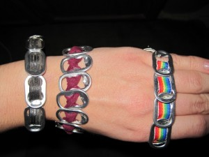 "Soda tabs ""woven"" together make cool bracelets."