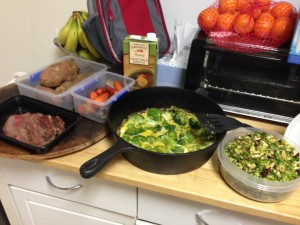 Prep for the week: frittata, steak, shaved Brussels sprout salad and sweet potatoes.