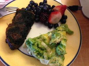 Blueberry zucchini 'bread' with a broccoli frittata and berries.