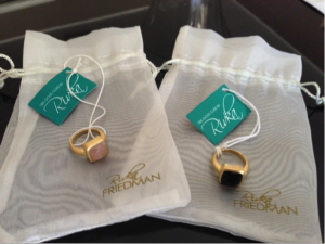 Rivka Friedman 18K Gold Clad Faceted Onyx & Rose Quartz Petite Rings - RETAIL Value $145...I paid $36 each