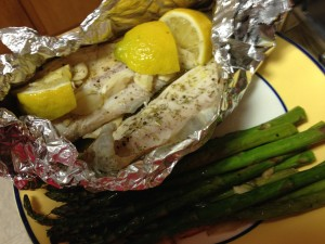 Baked trout in tinfoil. Fish heaven. For real.