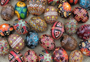 Pretty, wooden pysanky eggs