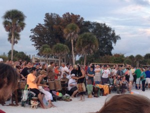 Sunday drumming circle on Siesta Beach sarasota