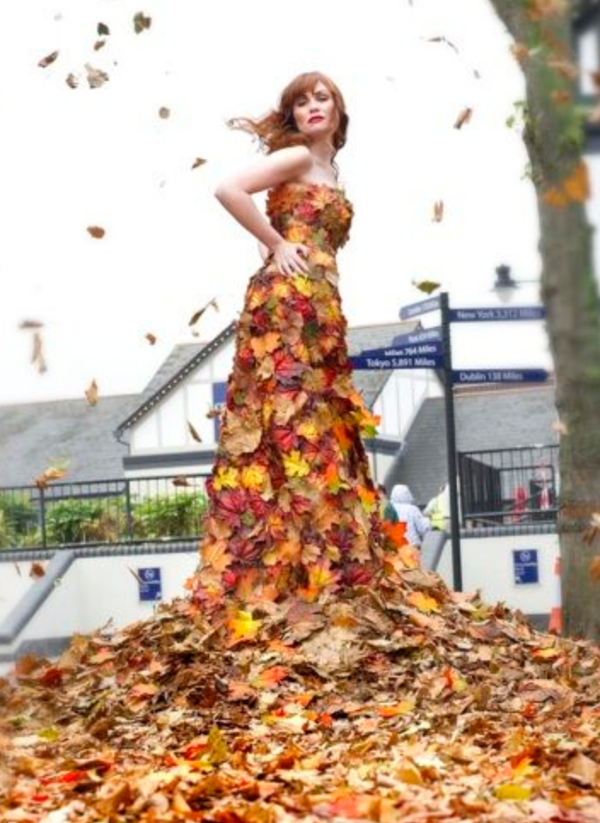 fall fashion foliage dress